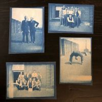Group of Cyanotype Snapshots Factory Workers Goofing Around Man Bending Over 1.jpg