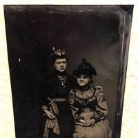 Tintype of Two Women with Amazing Detailing on Clothes Circa 1890s 1.jpg