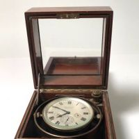 Waltham 8 Day Ship Clock in Wood Case and Key 1.jpg
