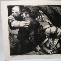 Victor Szucs 1939 Pencil Signed and Titled Lithograph Vigilantes 1.jpg