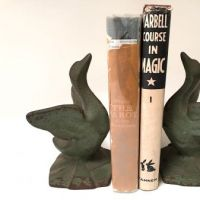 Green Painted Littco Littlestown Cast Iron Art Deco Era Swan Book Ends 1.jpg
