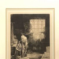Dr Faustus in His Study Etching by Rembrandt Framed 1.jpg