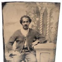 Tin Type of Poor African American Man with Painted Backdrop 1.jpg