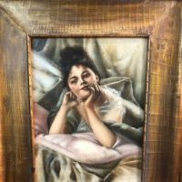 Woman Lying in Bed Oil on Canvas Circa 1900 2.jpg