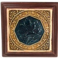 Tile in Frame Dark Blue Flower Arts and Crafts 1.jpg