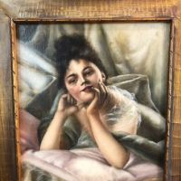 Woman Lying in Bed Oil on Canvas Circa 1900 3.jpg