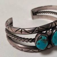 Antique Pawn Navajo Silver Cuff with Turquoise 1.jpg