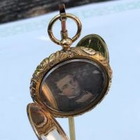 Double Portrait Locket with 2 Daguerreotypes Man and Woman Rose Gold Ornate Case 1.jpg