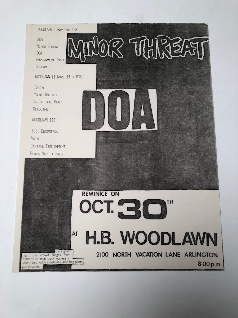 Minor Threat and DOA October 30th 1981at H.B. Woodlawn in Arlington VA Punk Flyer 1.jpg