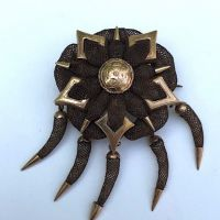 Civil War Era Hair Art Brooch October 5th 1861 Rose Gold 12K 1.jpg