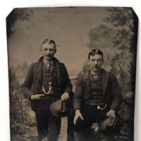Two Men with Hand Tinted Watch Chains and Cowboy Hats Tin Type 1.jpg